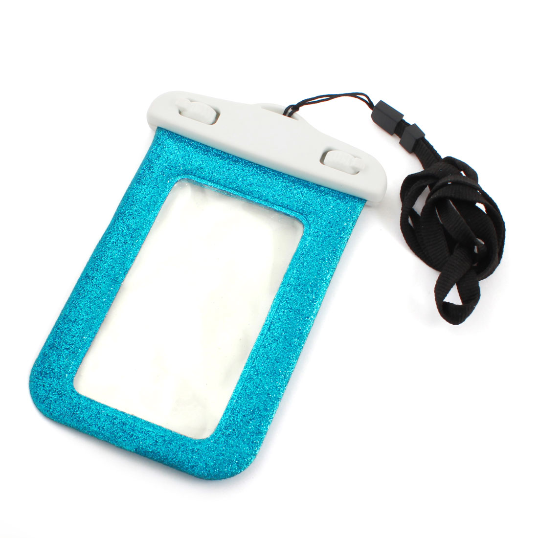 Teal Glitter Power Waterproof Cellphone Pouch Dry Bag Case w Neck Strap Armband