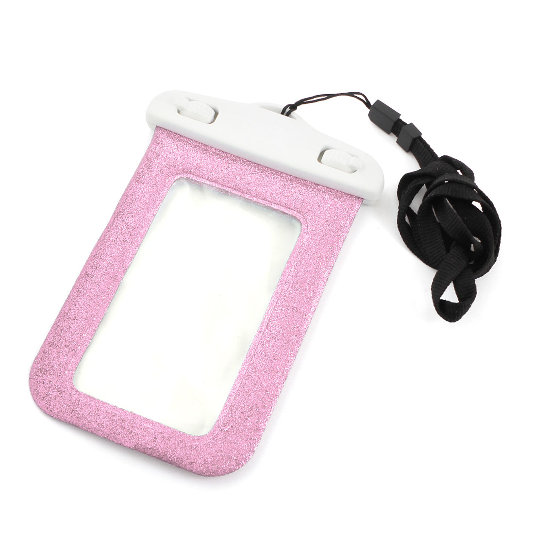 Pink Glitter Power Waterproof Cellphone Pouch Dry Bag Case w Neck Strap Armband