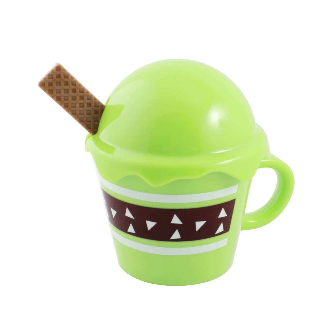 Household 360ml Green Plastic Round Lid Water Cup w Coffee Color Spoon