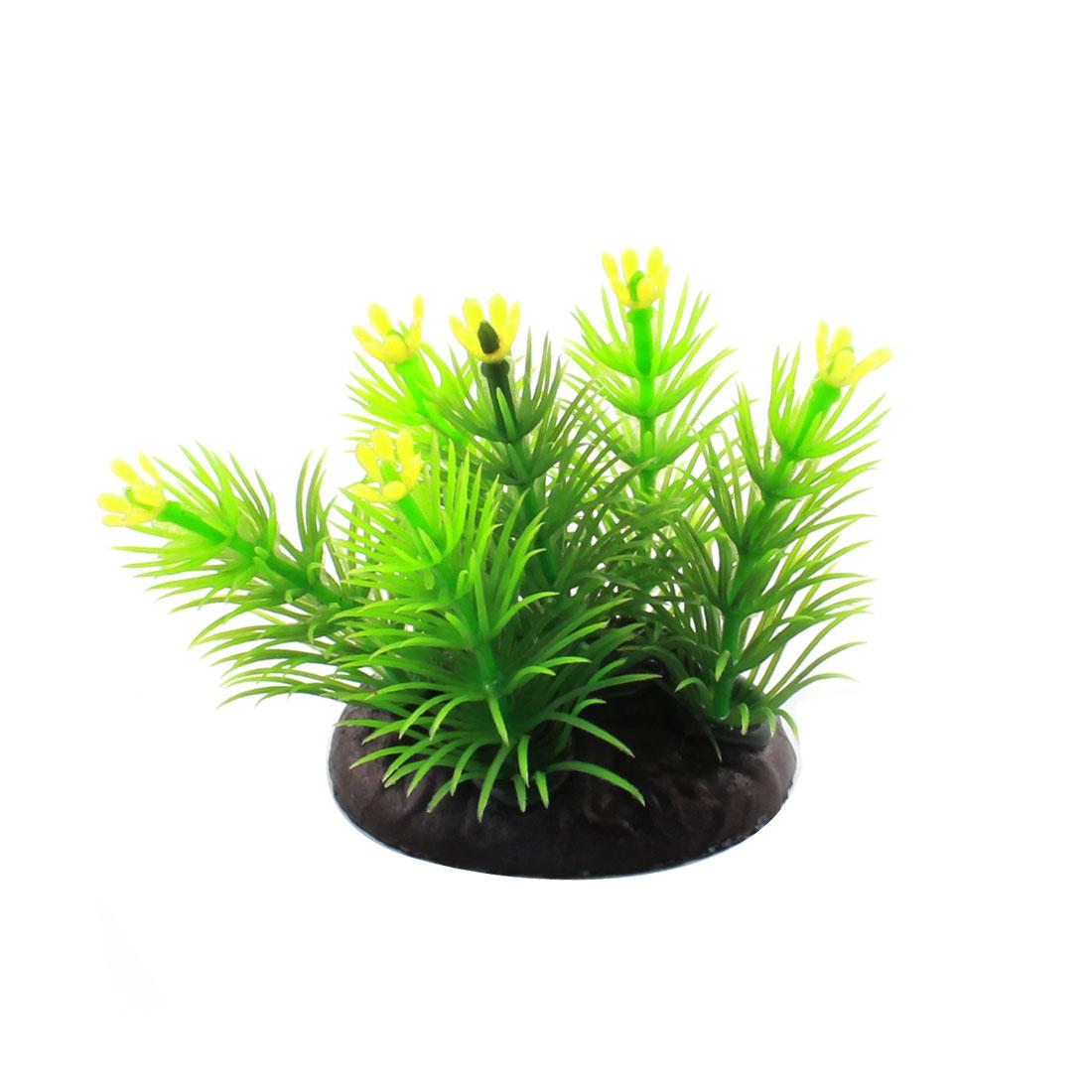 """Aquarium Underwater Landscaping Plastic Grass Plant Decor Green 2.4"""" High"""