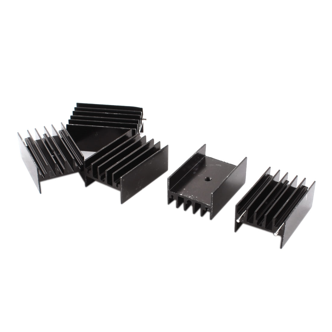 5pcs 23mm x 16mm x 35mm Black Aluminium Radiator Fin Cooling Cooler Heatsink Heat Sink w Needle for PCB Board