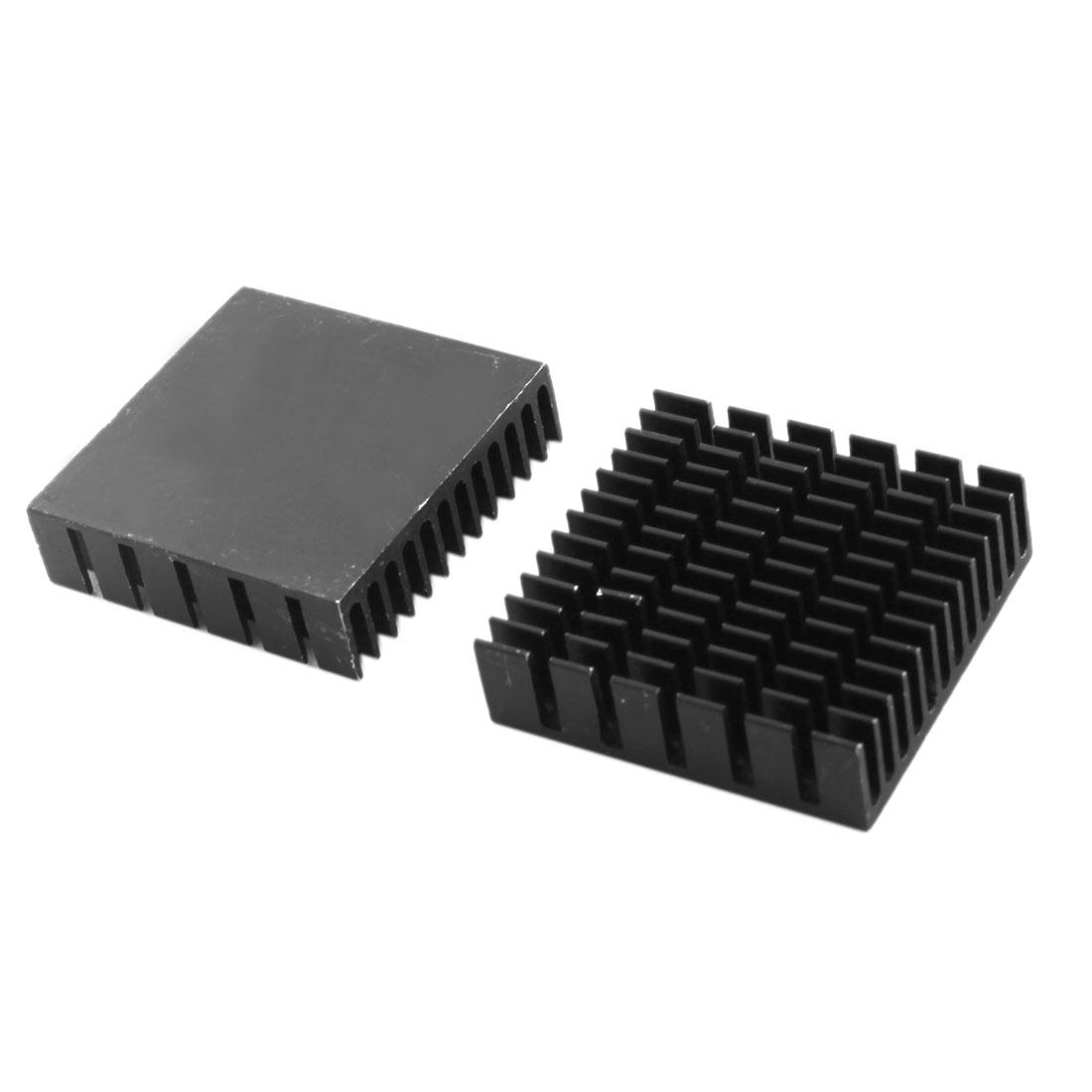 2pcs 40mm x 11mm x 40mm Black Aluminum Chipset Heat Diffuse Cooler Cooling Fin Heatsink for PCB Board