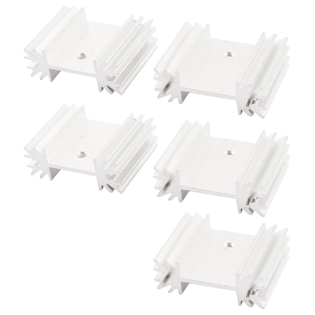 PCB Board Parts Silver Tone Aluminium Radiator Fin Cooling Cooler Heatsink Heat Sink 34x12x25mm 5pcs