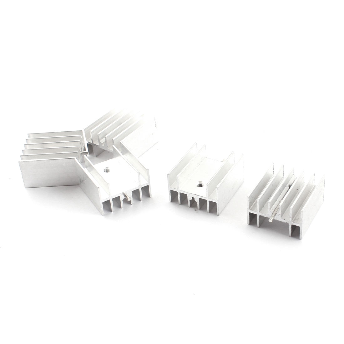 5 Pcs Spare Parts 23mm x 16mm x 25mm Aluminium Radiator Cooler Heatsink Heat Sink Cooling Fin w Needle for PCB Board