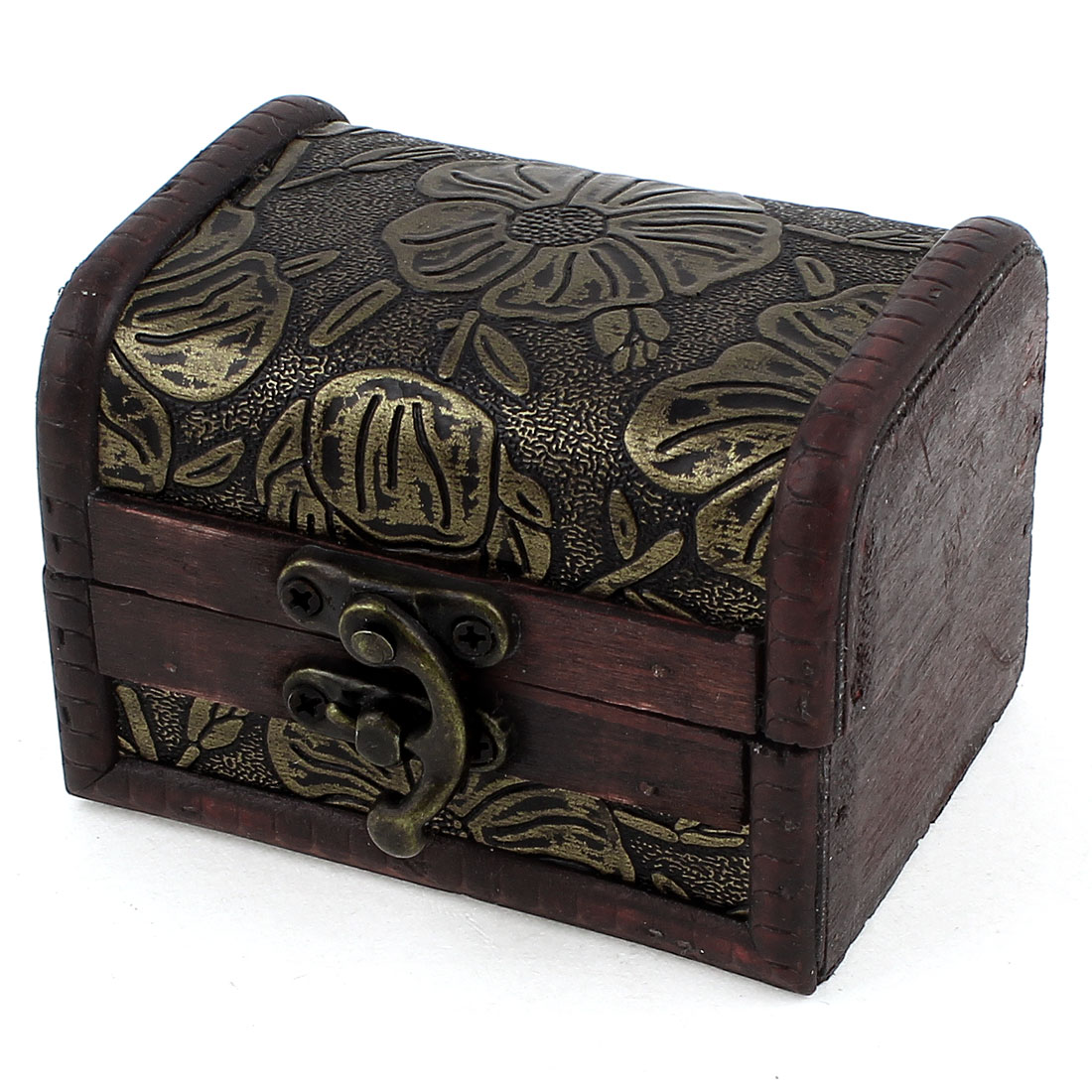 Flower Pattern Rectangle Wooden Metal Buckle Decor Jewelry Holder Case Box