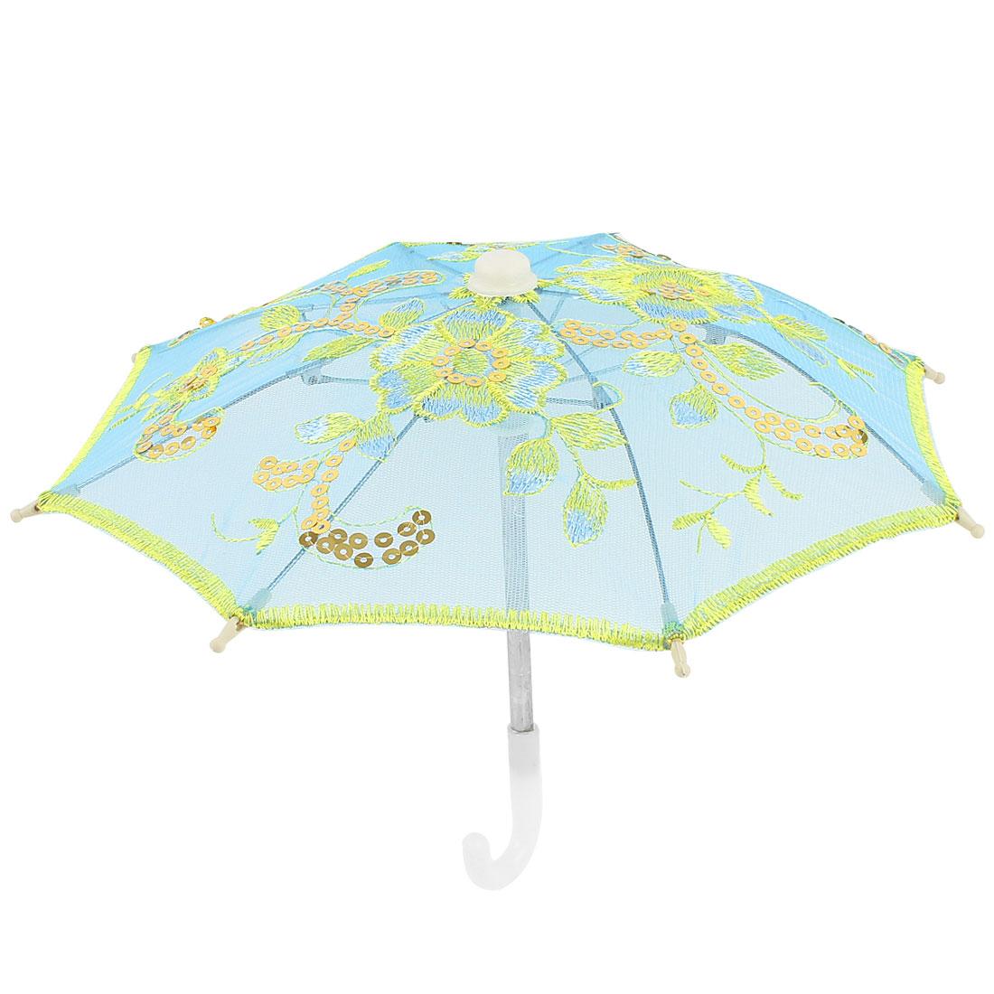 Home Decor Gold Tone Embroidery Flower Foldable Mini Parasol Umbrella Blue