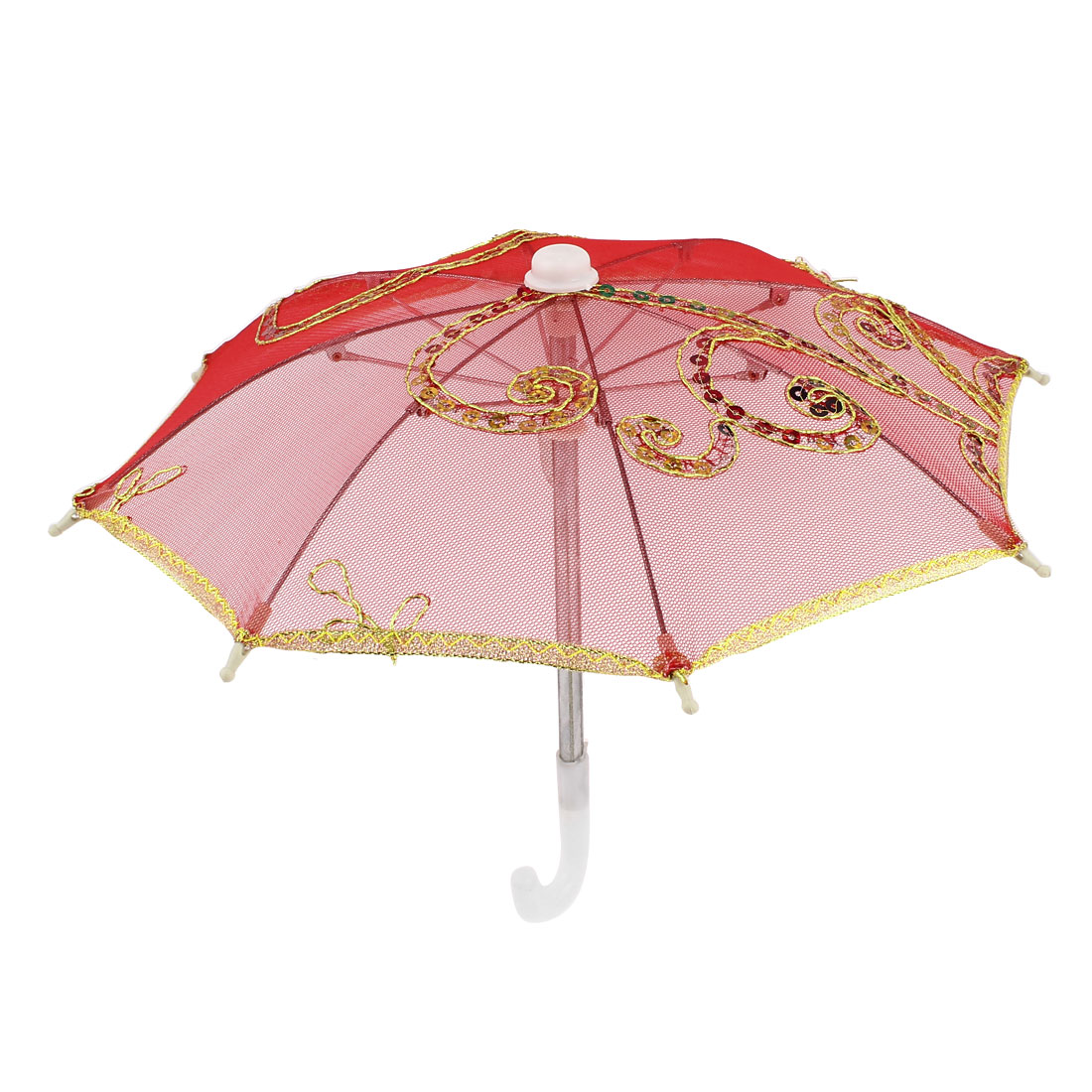 Home Decor Gold Tone Embroidery Flower Foldable Mini Parasol Umbrella Red