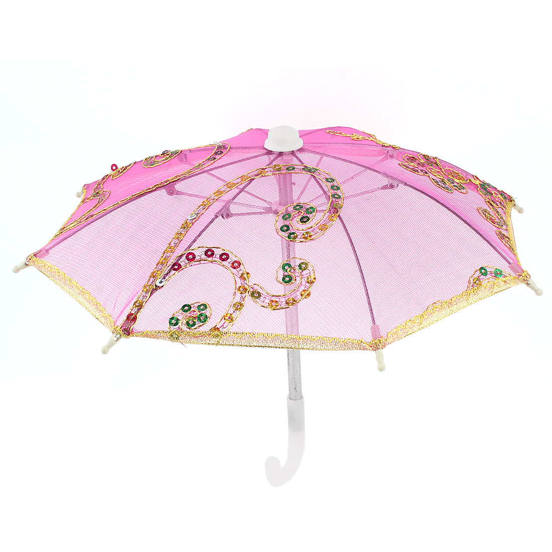 Gold Tone Embroidery Flower Folding Mini Dancing Parasol Umbrella Fuchsia