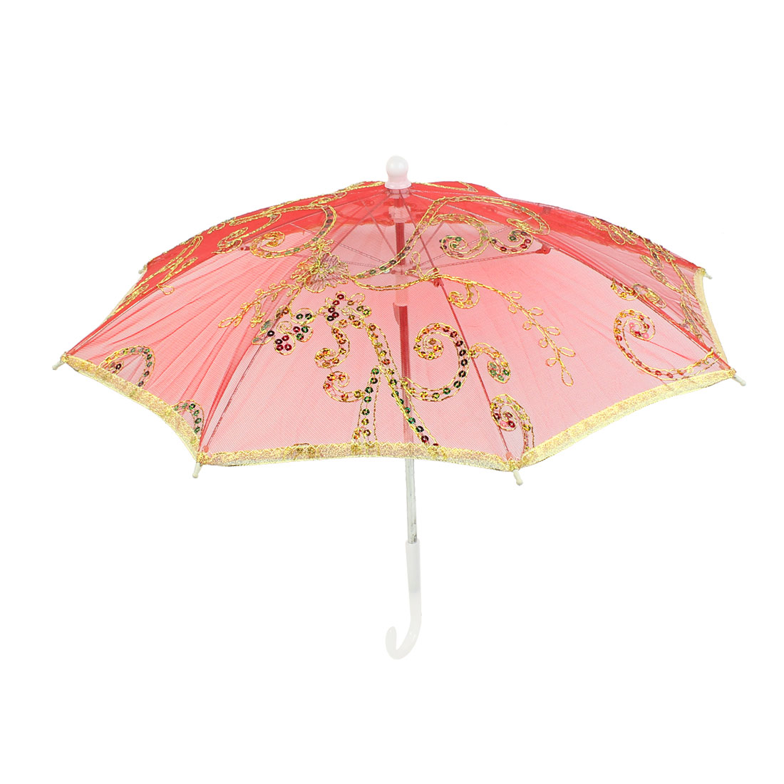 Gold Tone Embroidery Flower Folding Dancing Parasol Umbrella Red