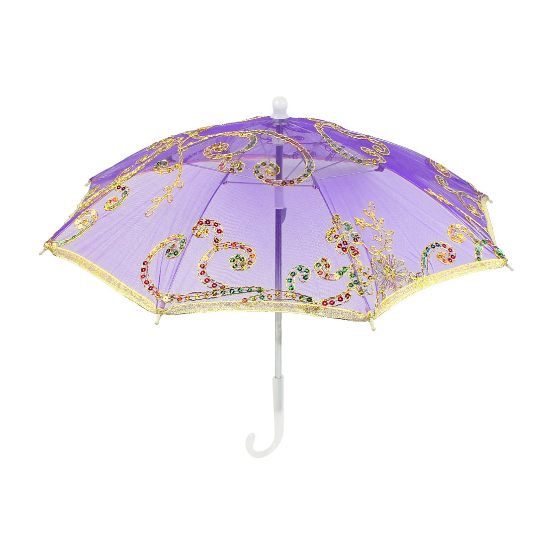 Embroidery Flower Pattern Foldable Dancing Parasol Umbrella Gold Tone Purple