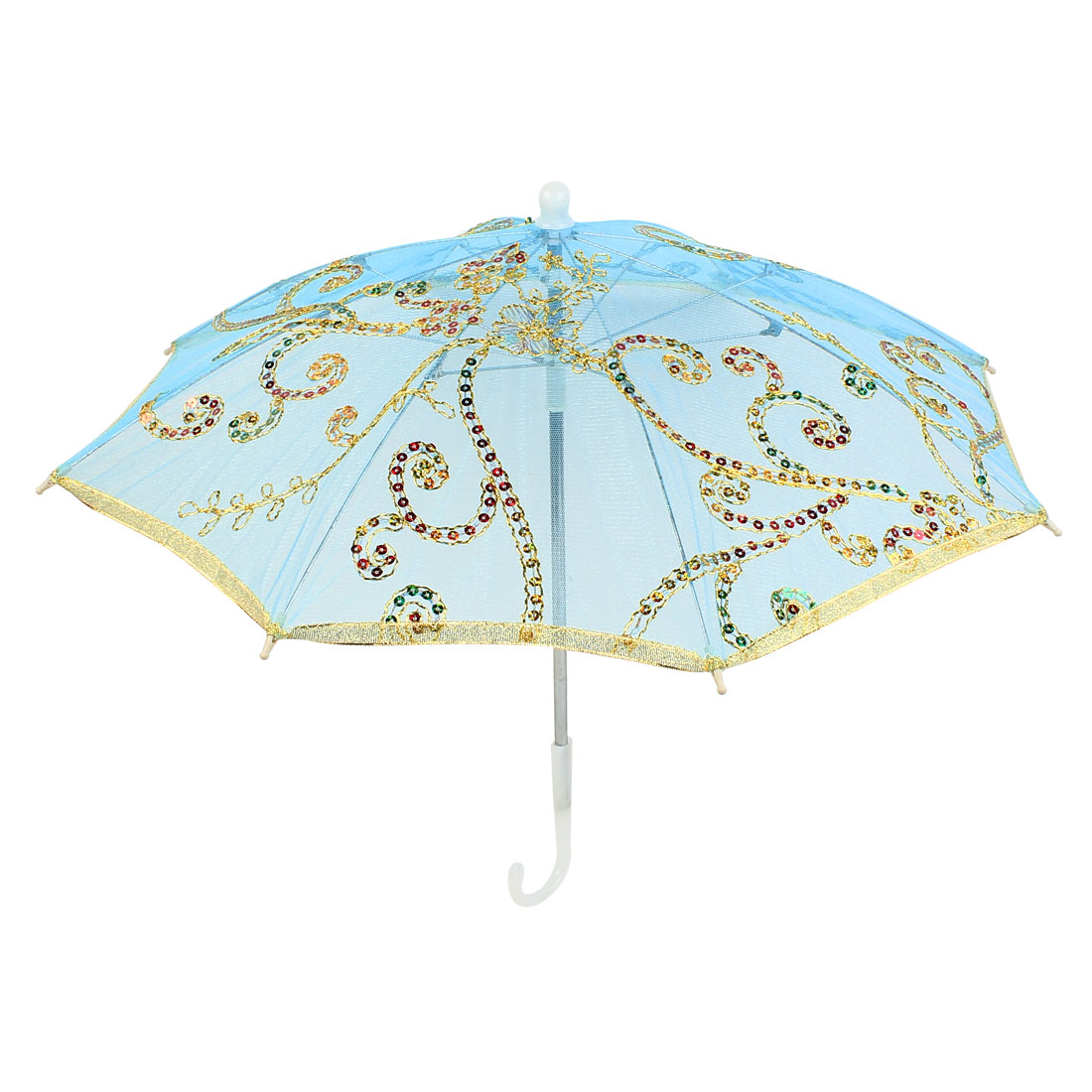 Gold Tone Embroidery Flower Foldable Dancing Parasol Umbrella Blue