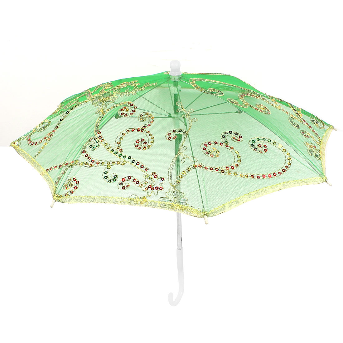 Gold Tone Embroidery Flower Folding Dancing Parasol Umbrella Green