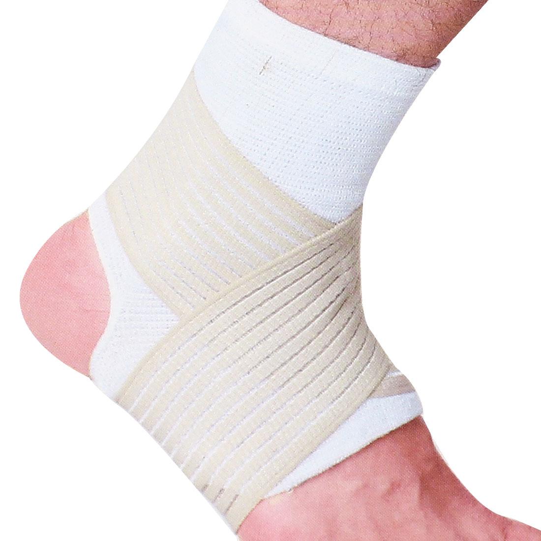 Hook Loop Closure Beige Striped Elastic Brace Ankle Support Bandage