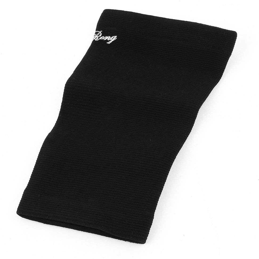 Sports Training Nylon Elastic Textured Elbow Wrap Support Black