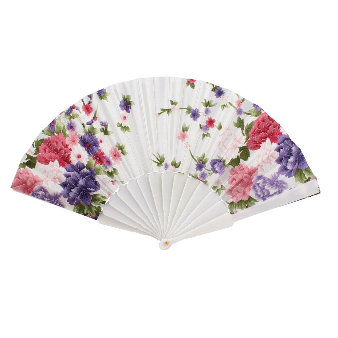 """White Plastic 16.5"""" Folding Hand Fan Polyester Flower Print Decor"""