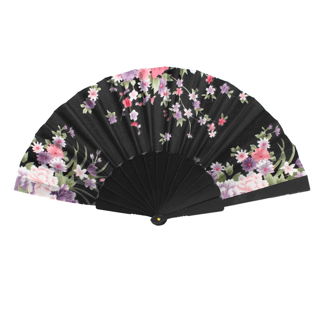 "Black Plastic 16.5"" Folding Hand Fan Polyester Flower Print Decor"