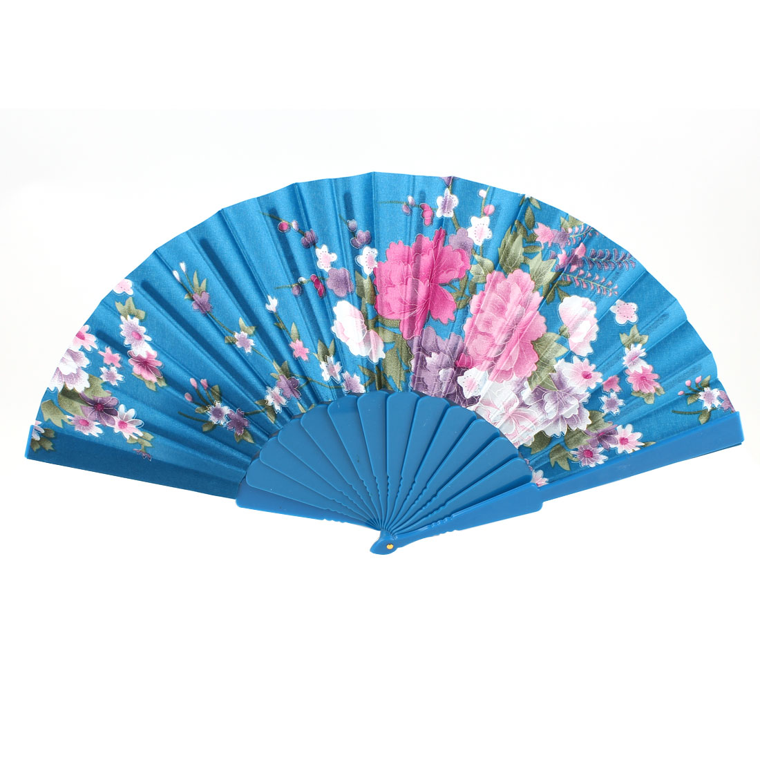 "Green Plastic 16.5"" Folding Hand Fan Polyester Flower Print Decor"