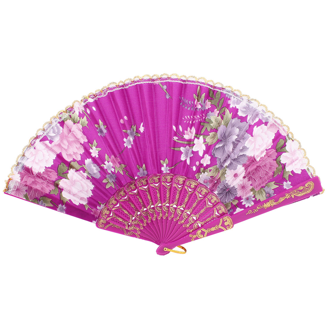 Plastic Folding Flower Print Fuchsia Gold Tone Ribs Lace Decor Hand Fan