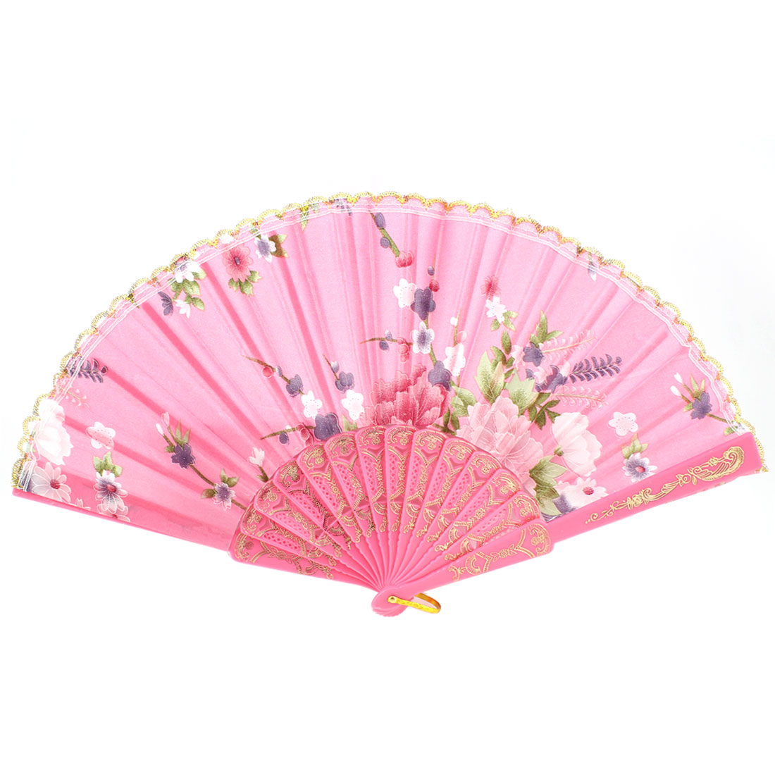 Pink Plastic Ribs Polyester Flower Print Gold Tone Lace Decor Hand Fan