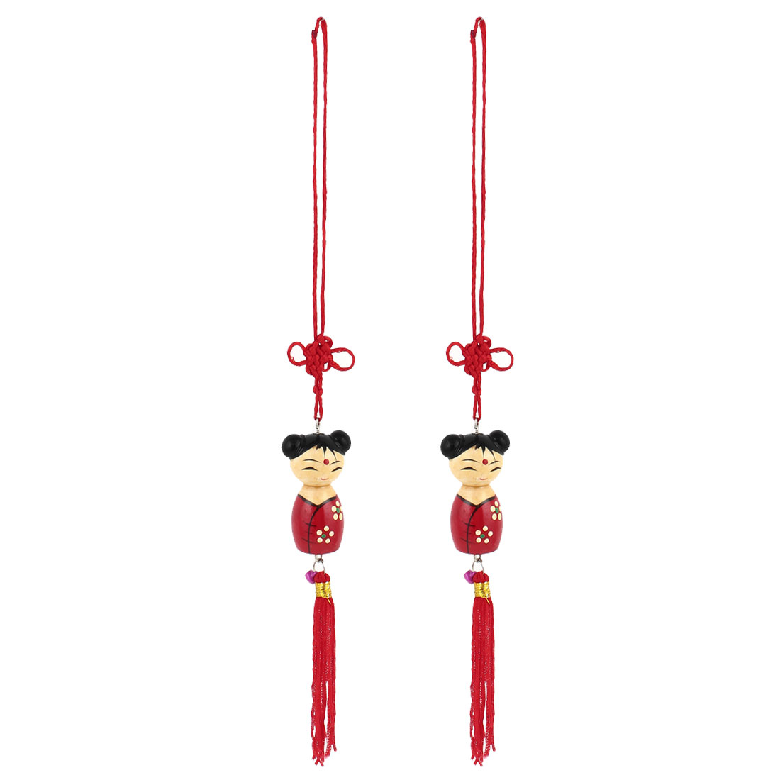 Chinese Folk Art Knot Tassels Decor Girl Pendant Hanging Ornament Red