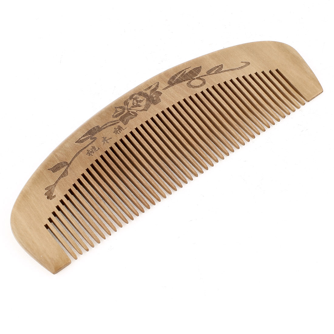 "6.3"" Length Handwork Natural Carved Wooden Bush Hair Care Comb"