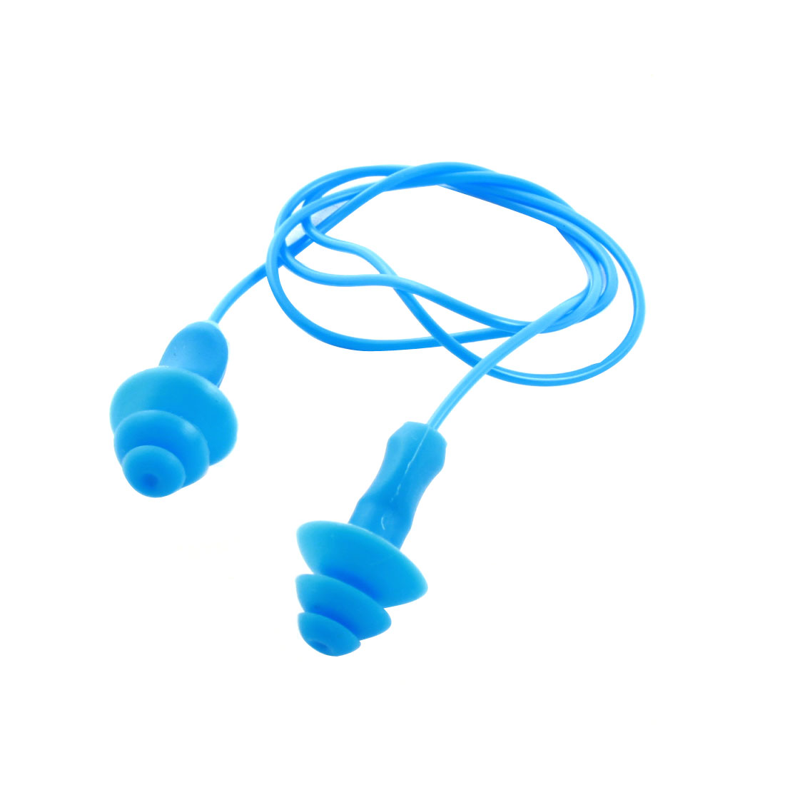 "Plastic 20.5"" String Swimming Flexible Soft Silicone Ear Plugs Earplug Blue"