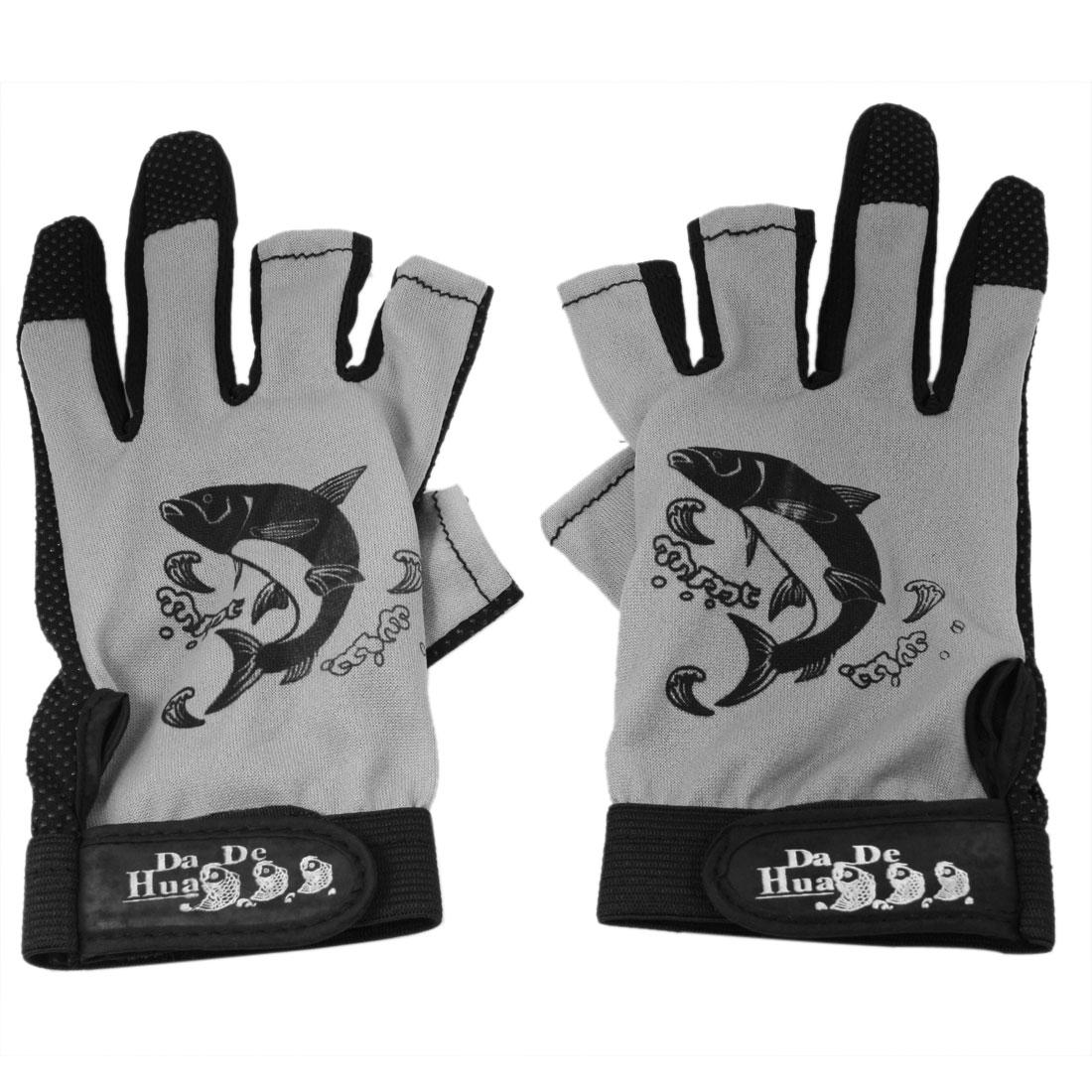 Fish Pattern Anti Slip 3 Cut Finger Angling Fishing Rod Gloves Black Gray Pair