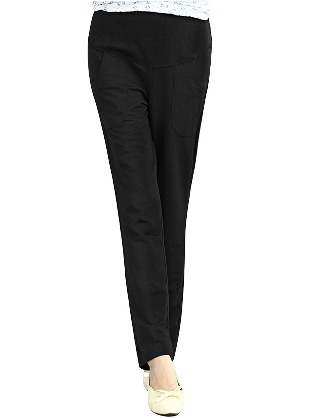 Maternity Drawstring Button Adjustable Waist Casual Pants Black XS