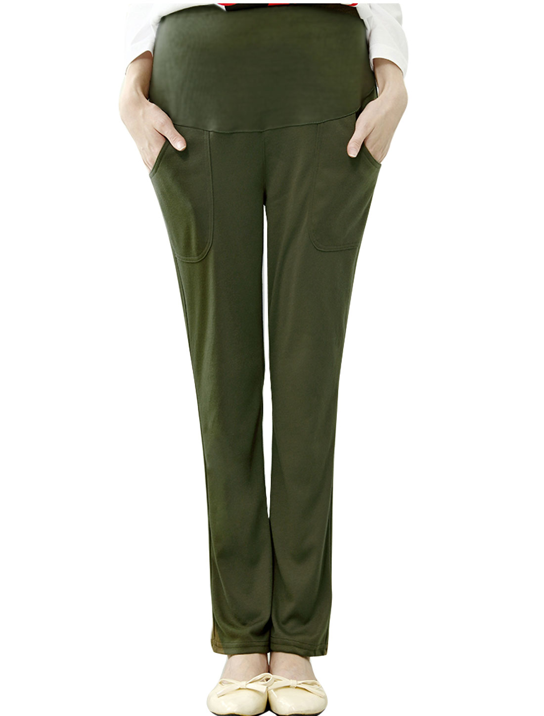 Maternity Soft Drawstring Button Adjustable Waist Fleece Lined Casual Pants Army Green