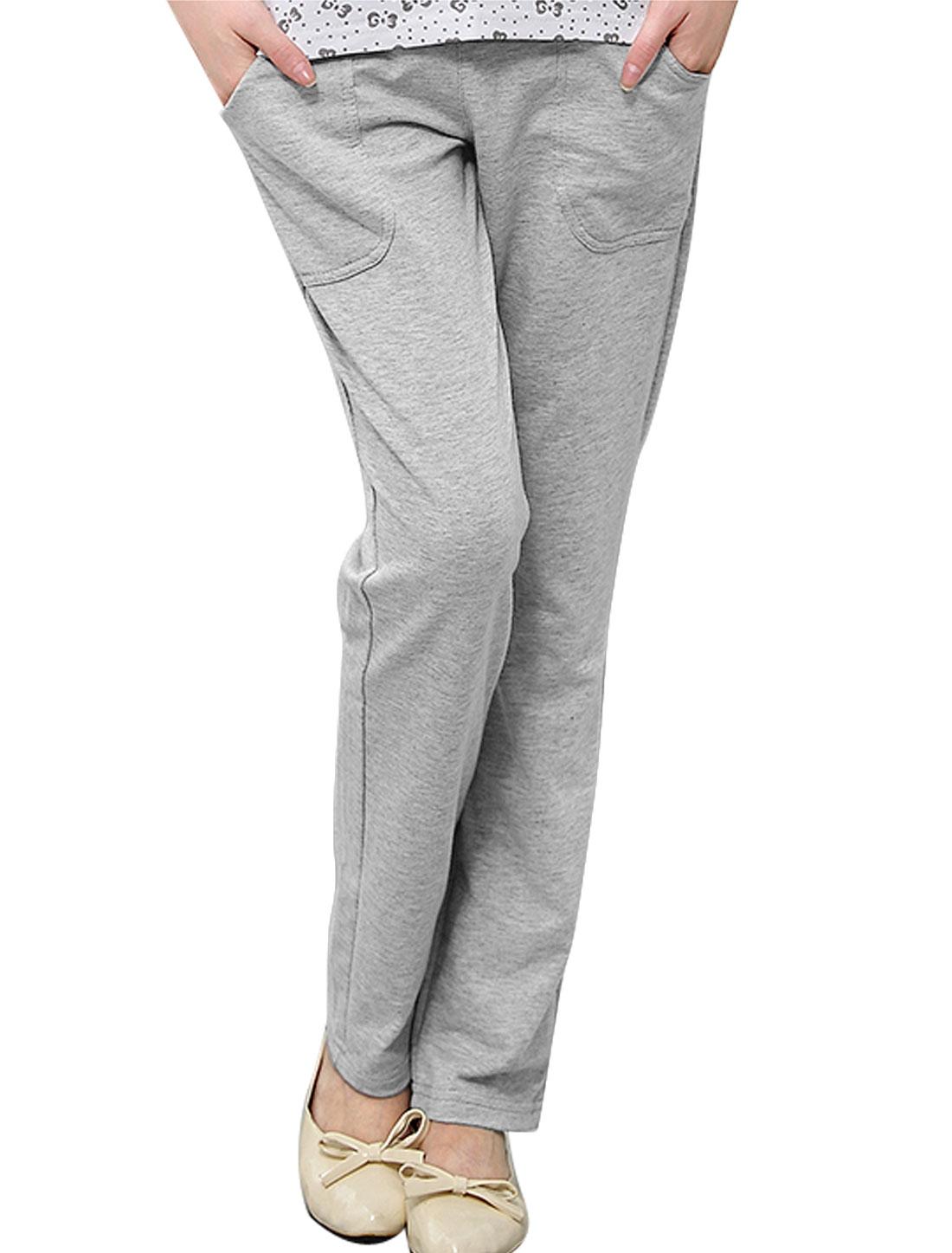 Maternity Double Slant Pockets Fleece Lined Casual Pants Light Gray XS