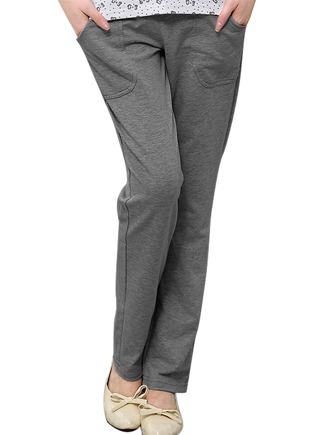 Cozy Fit Mid Rise Double Slant Pockets Fashion Pants Dark Gray XS