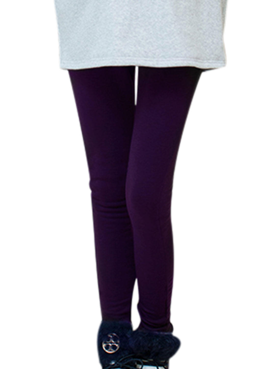 Motherhood Fleece Lined Ribbing Panel Stretchy Waist Leggings Purple S