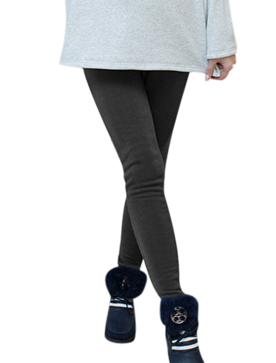 Motherhood Ribbed Patch Drawstring Button Adjustable Waist Leggings Dark Gray S