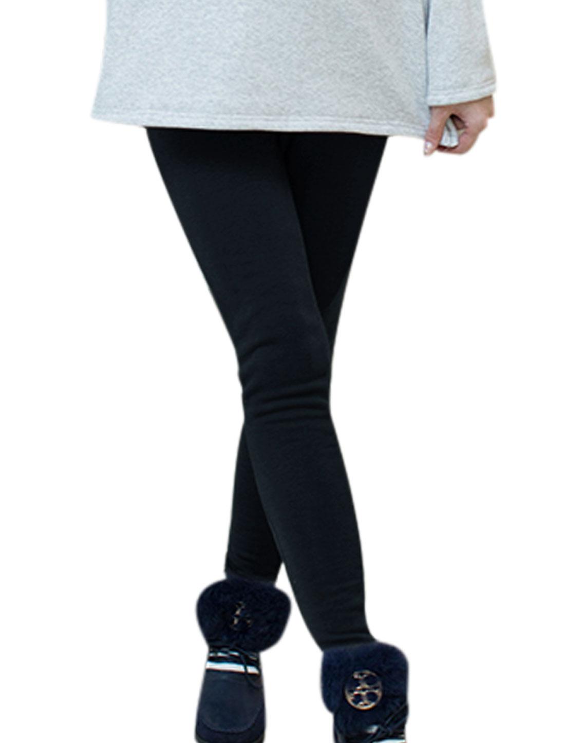 Motherhood Ribbing Patch Drawstring Button Adjustable Waist Leggings Navy Blue S
