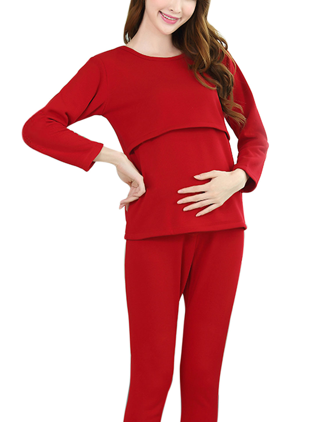 B44 Maternity Slipover Adjustable Drawcord Waist Sleepwear Pajama Sets Red XL/S (US 6)