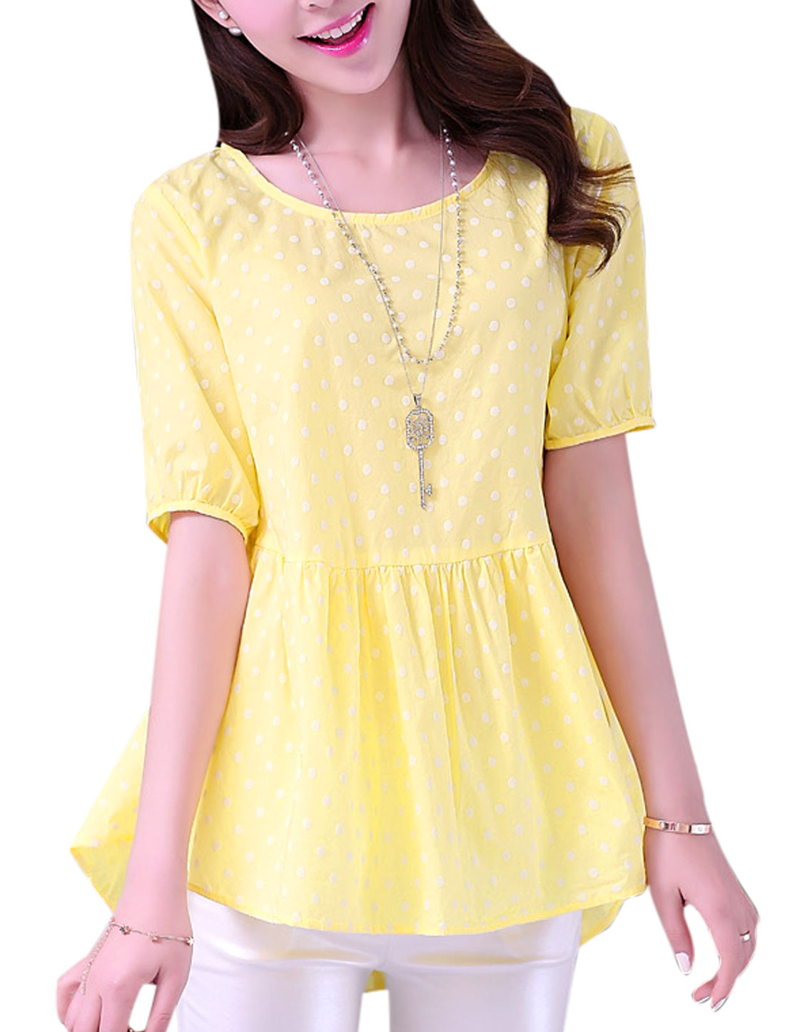 Motherhood Dots Pattern Self Tie String One Button Back Leisure Peplum Top Light Yellow M