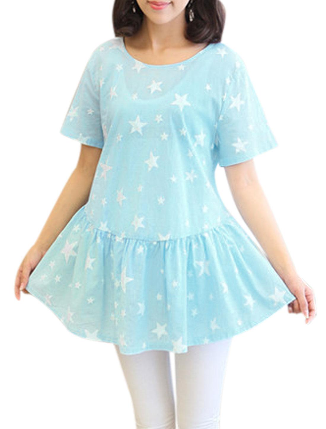Maternity Stars Pattern One Button Back Semi Sheer Leisure Peplum Top Light Blue M