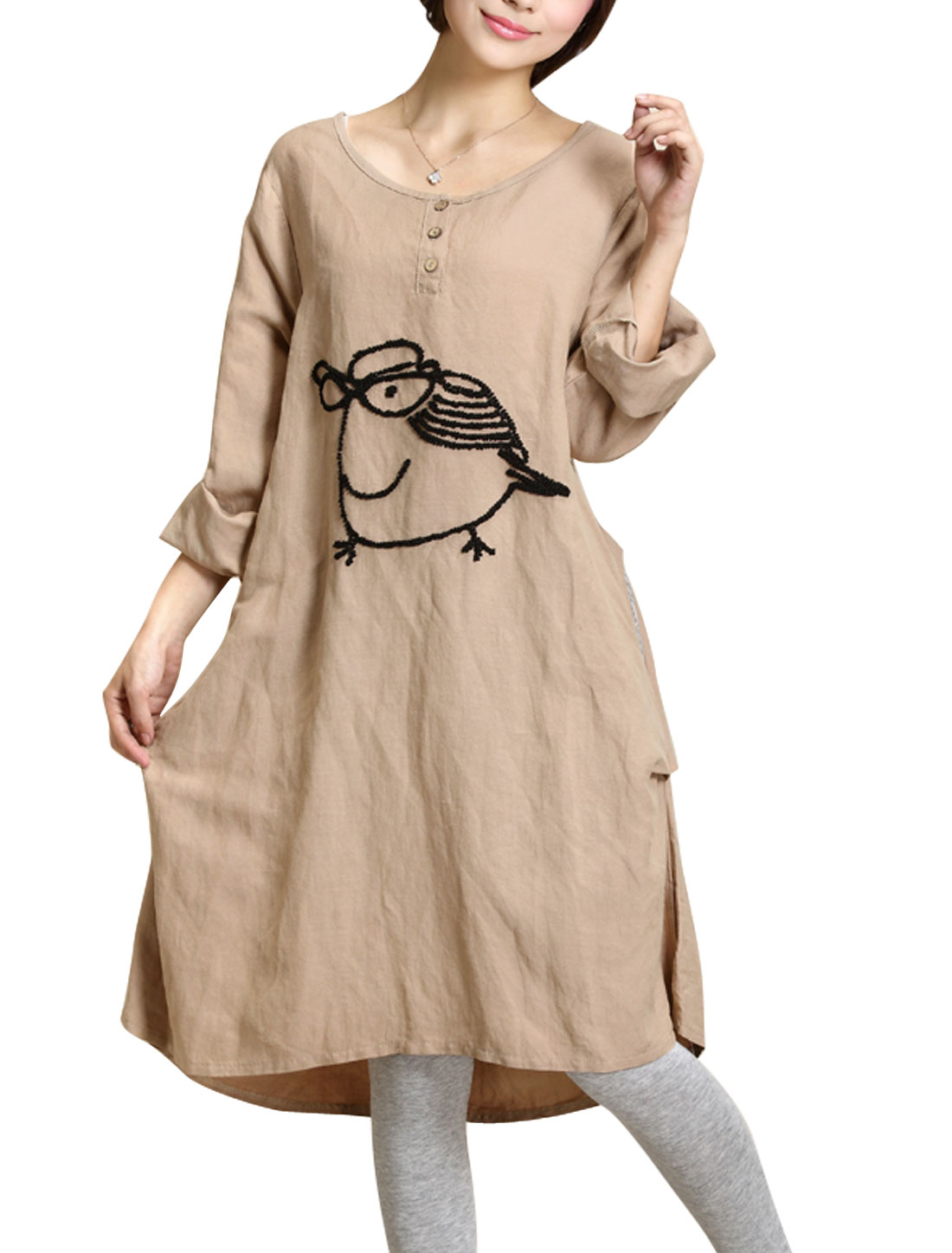 Maternity Cartoon Pattern Double Seam Pocket Front Casual Straight Dress Light Brown L