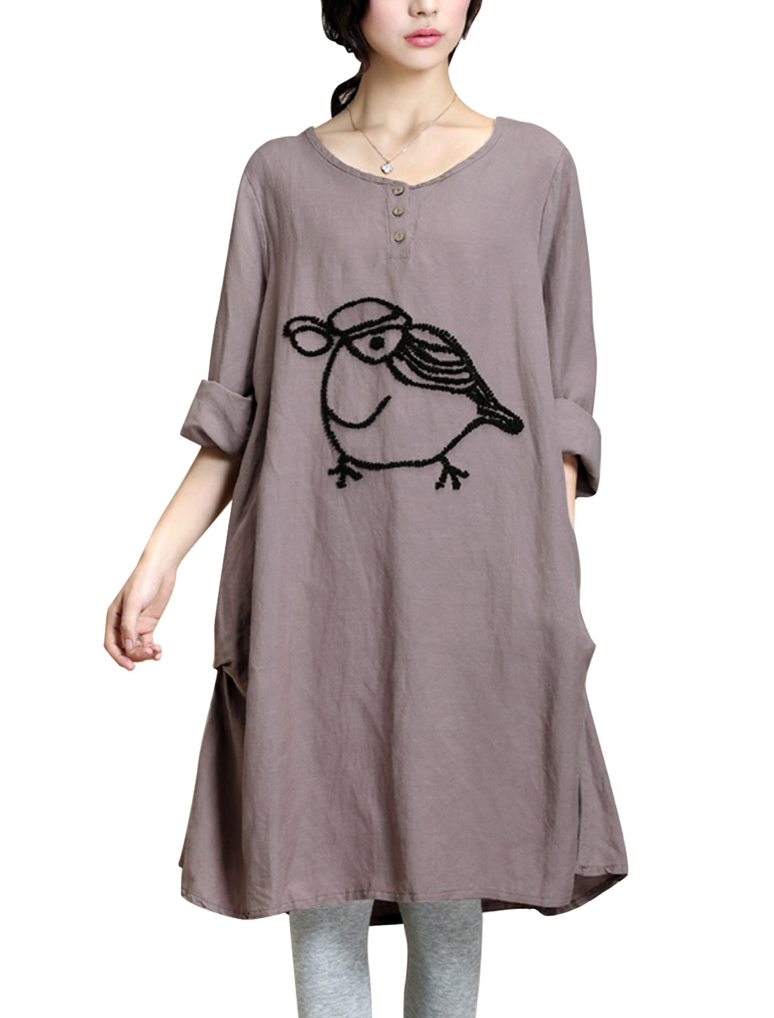 Maternity Round Neck Cartoon Pattern Cozy Fit Straight Dress Lavender L