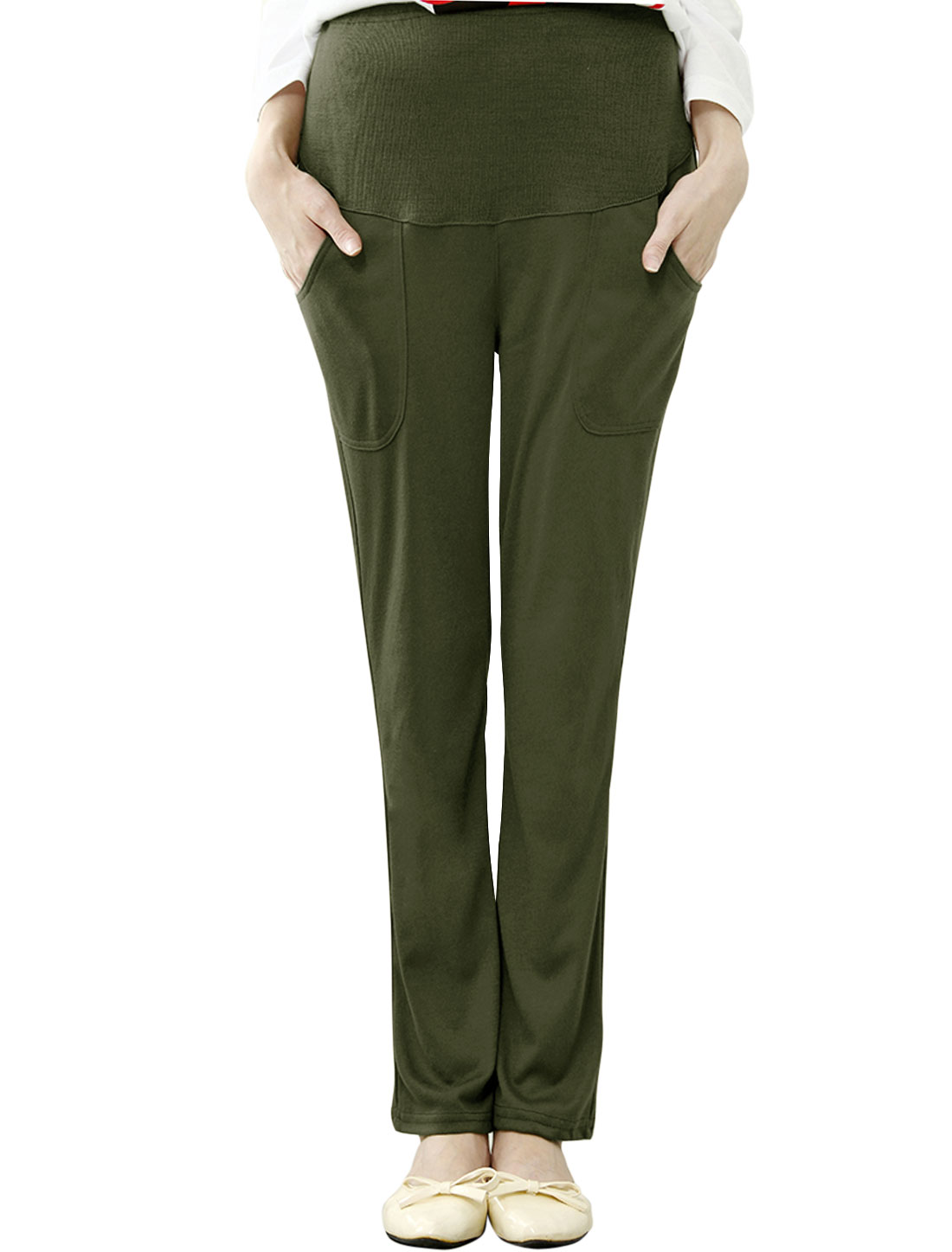 Maternity Adjustable Drawstring Waist Mid Rise Casual Pants Army Green XS