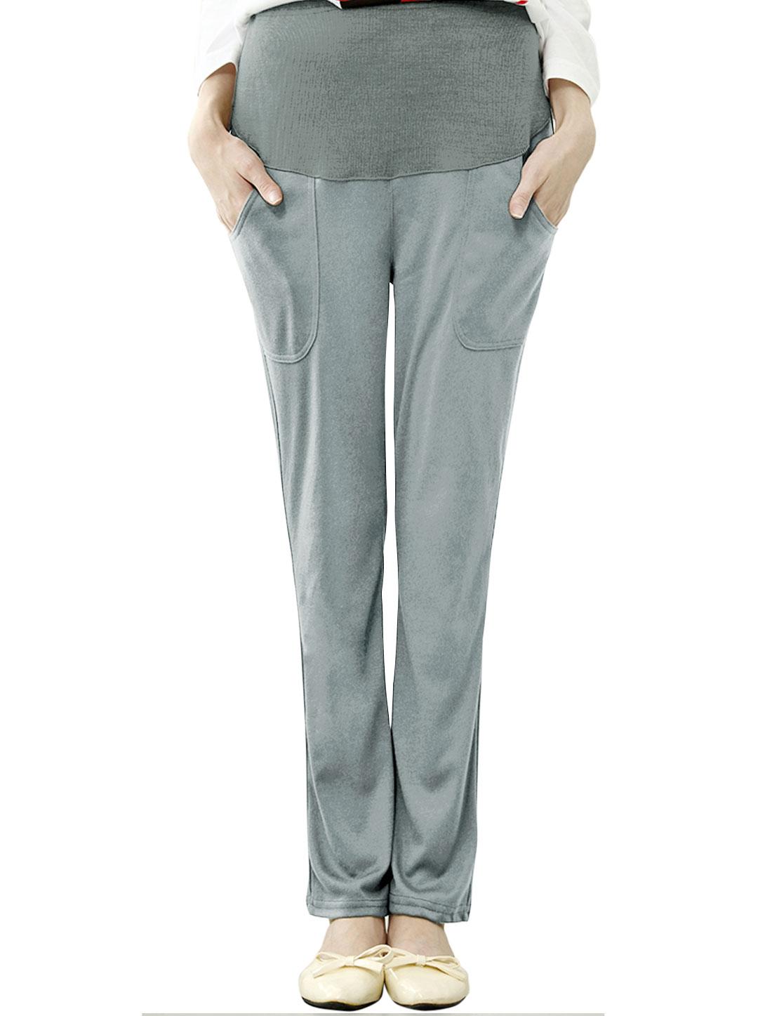 Maternity Double Slant Pockets Ribbed Front Casual Pants Light Gray XS