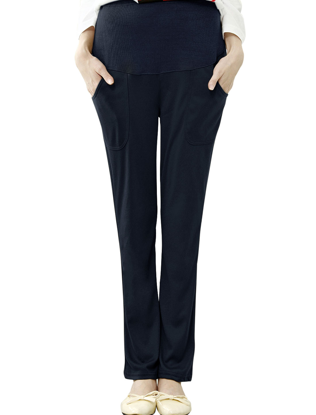 Maternity Drawcord Button Adjust Waist Cassual Pants Navy Blue XS