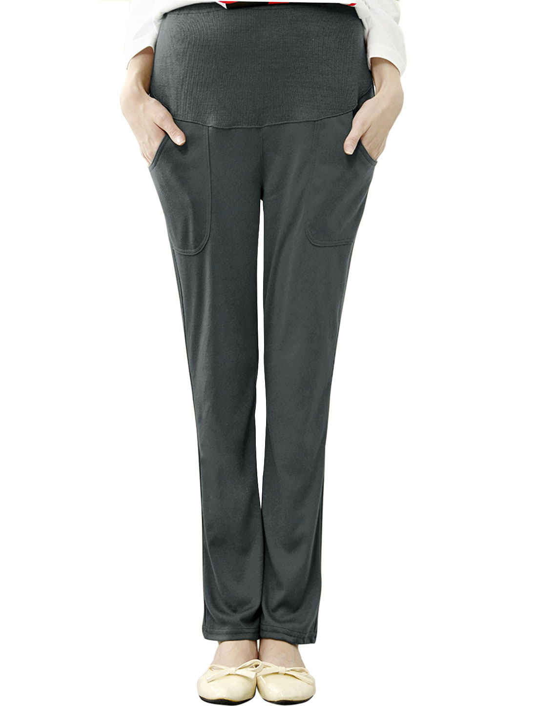 Maternity Fashion Style Slant Pockets Casual Trousers Gray XS
