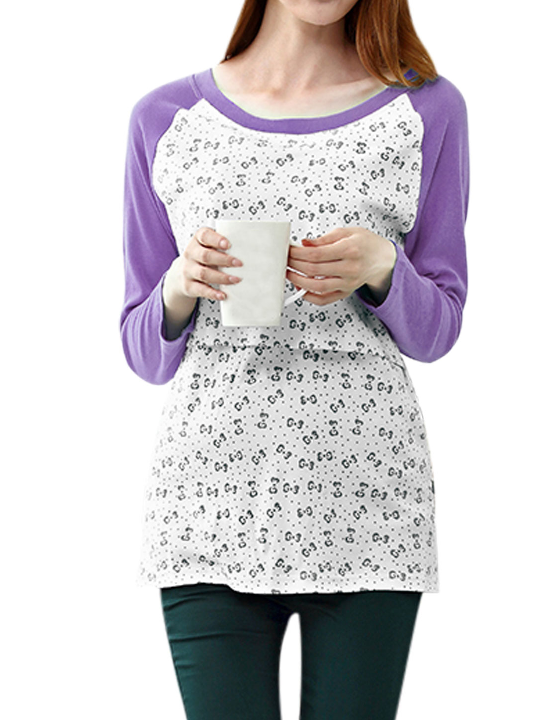 XK166 Motherhood Contrast Raglan Sleeves Bowknot Pattern Leisure T-Shirt Light Purple White XXL/M (US 10)