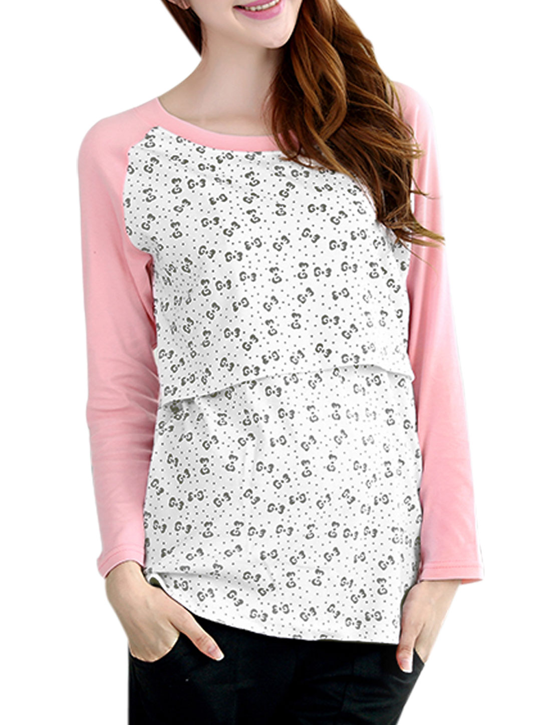 XK166 Motherhood Patched Design Bowknot Pattern Soft T-Shirt Pink White XXL/M (US 10)