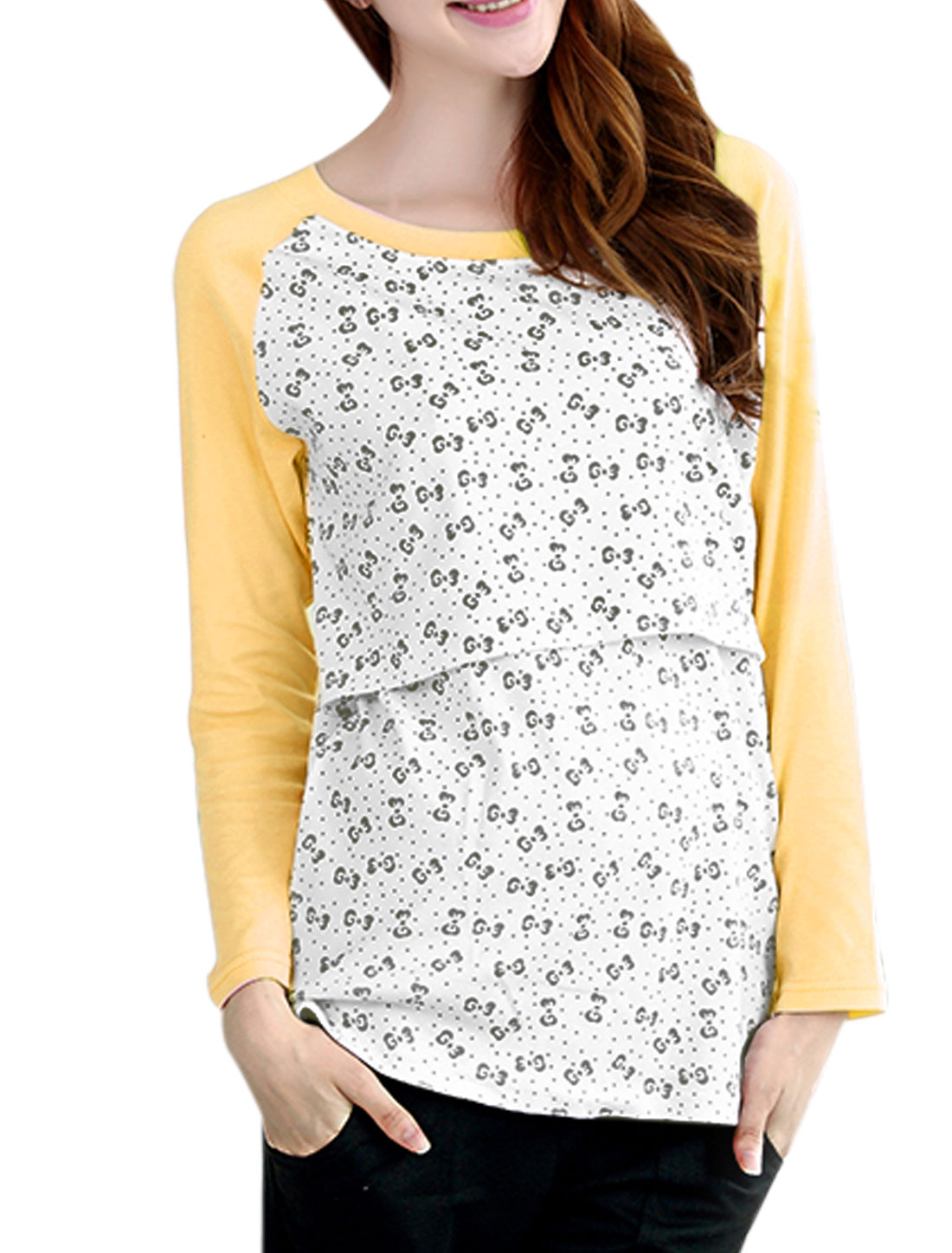 XK166 Motherhood Bowknot Pattern Long Raglan Sleeves Shirt Light Yellow White XXL/M (US 10)