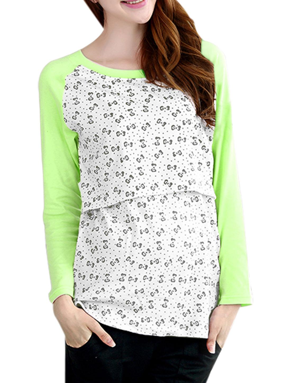 XK166 Motherhood Long Raglan Sleeves Fake Two Pieces NEW Shirt Light Green White XXL/M (US 10)