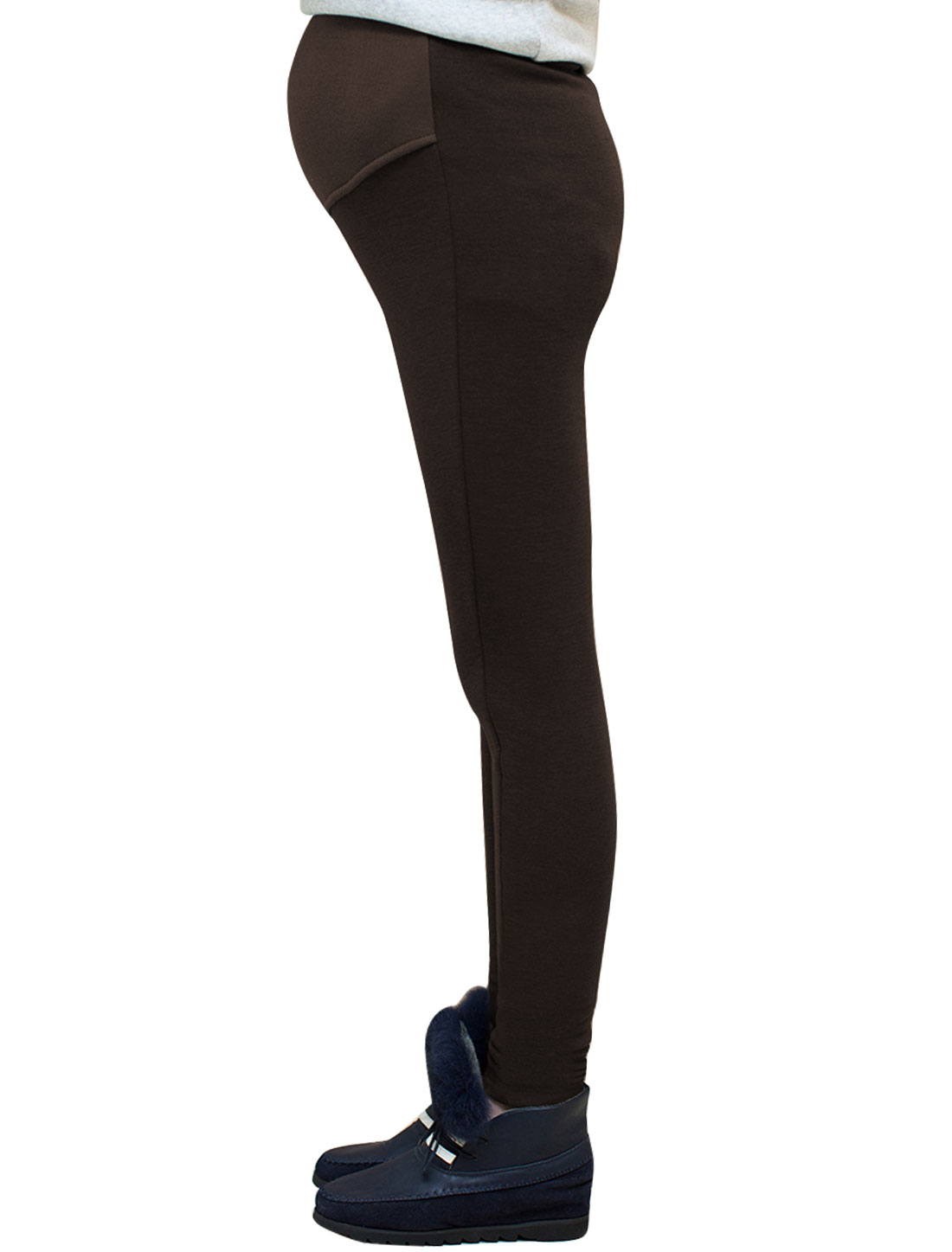 Motherhood Fleece Lined Ribbed Spliced Design Stretchy Waist Leggings Brown XS