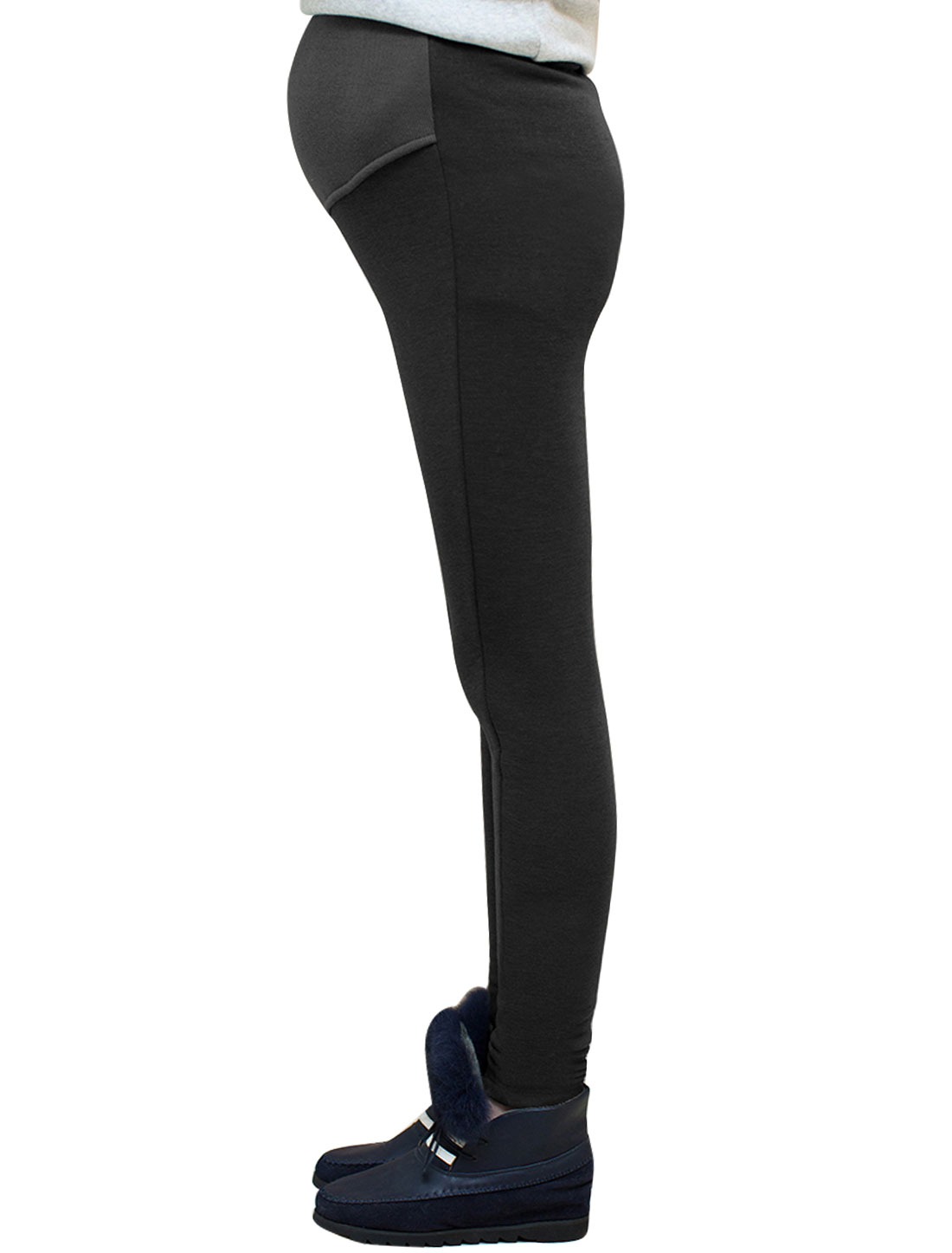 Motherhood Drawstring Button Adjustable Waist Ribbed Spliced Design Leggings Black XS