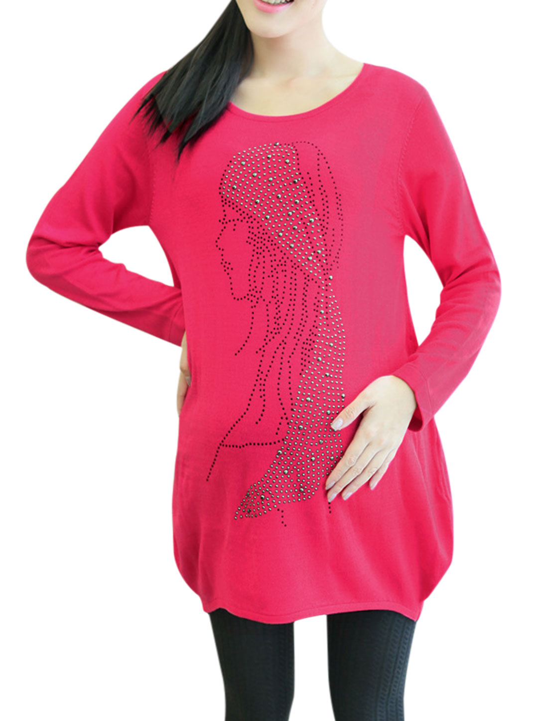 Maternity Portrait Studded Decor Curved Hem Soft Tunic Sweater Fuchsia M